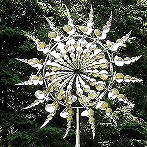 QWBBY Molino De Viento De Metal Único Y Mágico, Receptor Giratorio De Viento Solar, Movimiento Cinético Al Aire Libre con Decoraciones De Esculturas De Viento para Jardín