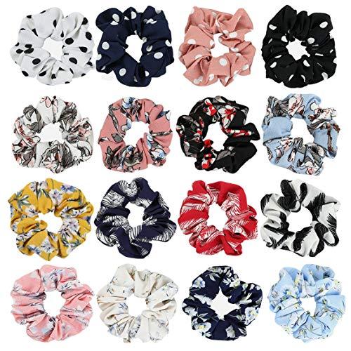Chouchous en mousseline de soie pour cheveux, 16 pièces de couleurs mélangées en mousseline de soie pour cheveux élastiques pour femmes et filles