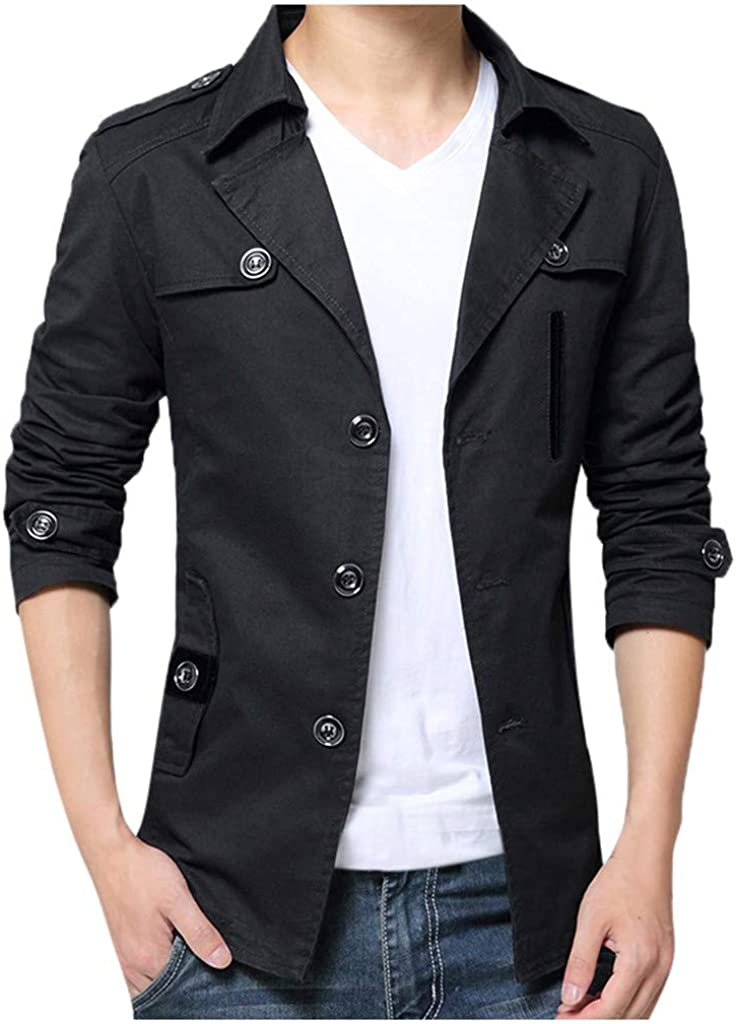 GREFER-Mens Autumn Thin Coat Lightweight Notched Collar Button Outwear Solid Plus Size Jacket