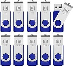 MOSDART 16GB 10pcs USB 2.0 Bulk Flash Drives Swivel Design Memory Stick Storage with Led Indicator,10 Pack Blue