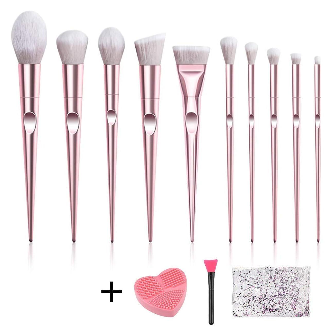 バングバリーエミュレーションRunsnail メイクブラシ 化粧筆 10本 クリーナー 高級タクロンを使用 日常の化粧 集まる化粧 【ギフト リーニングマット& マスクブラシ】