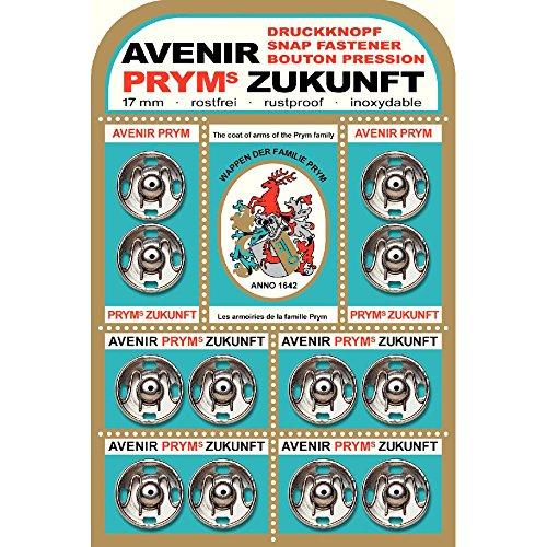 Prym 17mm Zukunft Aufnäher Druckknöpfe, Messing, 12Stück Silber