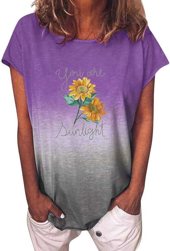 YUehswet Womens Short Sleeve Tops,Womens Rainbow Gradient Print T-Shirts Ladies Casual O Neck Short Sleeves Shirt Blouse