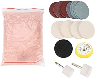 Glass Polishing Kit Scratch Removal Set, 34 Pcs Deep Scratch Remover Ceric Dioxide Abrasive Discs Polish Pad Felt for Windscreen and Glass