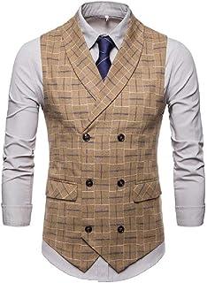 Zimaes Men Vogue Plus-size Casual Leisure Double Breasted Suit Vest