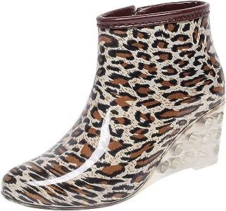 JJHAEVDY Women's Cute Print Waterproof Rain and Garden Boot Comfort Slip On Ankle Wedge Rain Shoes Booties Side Zipper