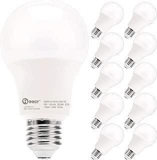 LED Light Bulbs, IMIGY Non-Dimmable A19 Frosted Light Bulb, High Efficient LED with 750 Lumen, 3000 Kelvin, 9 Watt 60 Watt Equivalent, Soft White LED E26 Base, 10 Pack