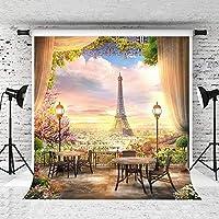 写真家や結婚式の写真のための新しい1.5×2.1mエッフェル塔の背景サンセットスカイウッドテーブル赤い花の背景小道具スタジオ綿の再利用の背景