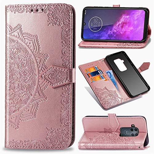 MRSTER Motorola One Zoom Hülle, Premium Leder Tasche Flip Wallet Hülle [Standfunktion] [Kartenfächern] PU-Leder Schutzhülle Brieftasche Handyhülle für Motorola One Zoom. SD Mandala Rose