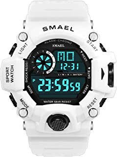 Men's Sports Watch, Digital Watch Military Watch with Waterproof Function and Alarm Clock- White