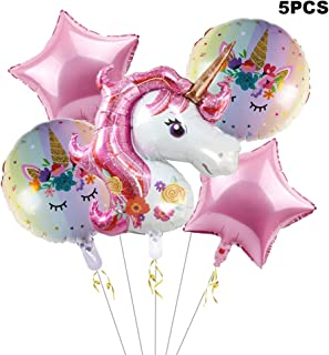 Bsstr Unicorn Balloons Birthday Party Decorations - Pack of 6, Pink Unicorn Foil Mylar Balloons, Unicorn Birthday Party Supplies Decorations for Baby Shower