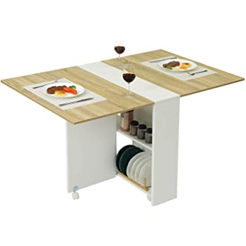 Tiptiper Folding Dining Table, Versatile Dinner Table with 6 Wheels and 2 Storage Racks, Space Saving Extendable Kitchen Table