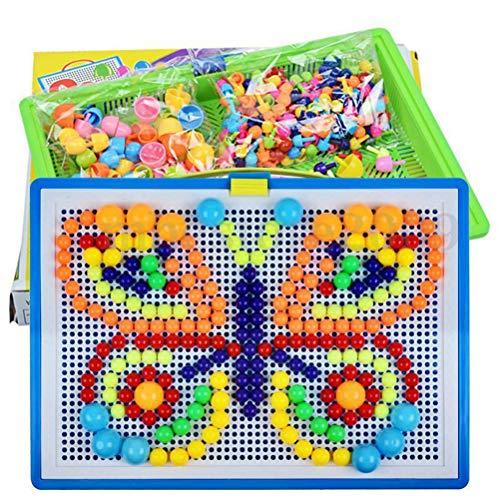Mosaik-Steckspiel FantaColor Portable Small, Steckspielzeug Kinderspielzeug Mosaik Spielzeug Bunte Bausteine Sets Spiel Geschenke für Kinder, 296 Stecker 10mm