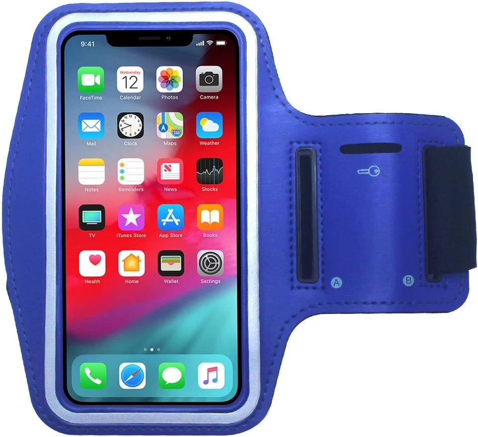 Cbus Wireless Armband Case Compatible with Apple iPhone 11 Pro, Xs, X, 8, 7, 6S, 6, SE, 5S, 5C, 5, iPod Touch Adjustable Band, Reflective with Screen Protection | Running, Jogging, Workout (Blue)