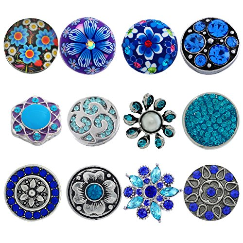 Souarts Pack of 12pcs Mixed Blue Rhinestone Snap Button Jewelry Charms