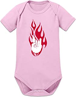 Shirtcity Rock on Hand in Flames Baby Strampler by