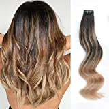 ABH AmazingBeauty Hair Sun-kissed Invisible Tape in Hair, Double Sided Real Remy Human Hair Skin Weft, 50g 20pcs, Dirty Blonde with Off Darkest Brown B2-18, 20 Inch