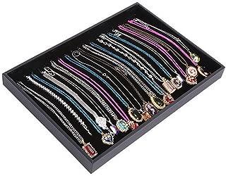 Glitterymall Drawer Organizer Velvet Stackable Jewelry Display Trays Storage Box Holder Black