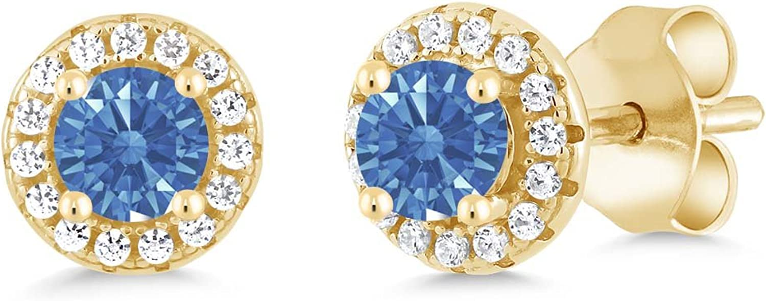 0.65 Ct bluee 925 Yellow gold Plated Silver Earrings Made With Swarovski Zirconia