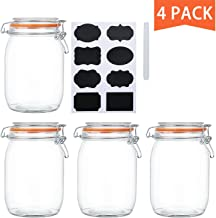Encheng 32 oz Glass Jars With Airtight Lids And Leak Proof Rubber Gasket,Wide Mouth Mason Jars With Hinged Lids For Kitche...