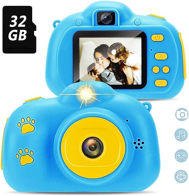 Cámara para niños con Tarjeta TF de 32GB cámara fotográfica Digital autofoto y de Video cámara para niños pequeños con Pantalla de 2 Pulgadas Juego HD para niños Soporte para Cable USB (Azul)