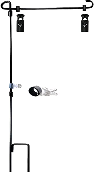 Garden Flag Stand Holder Pole With Garden Flag Stopper And Anti Wind Clip 36 3 H X 16 5 W For USA Flag Or Season Garden Flags Keep Your Flags From Flying Away In High Winds