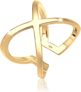 Elli Women's 925 Sterling Silver Gold Plated Xilion Cut Ring Size N