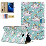 Galaxy Tab A 10.1 Case 2016 SM-T580/T585 (NO S Pen Version)- Dteck Stand Folio Case Auto Sleep/Wake Protective Cover for Samsung Galaxy Tab A 10.1' 2016 Tablet SM-T580 T585 T587, Unicorn& Stars