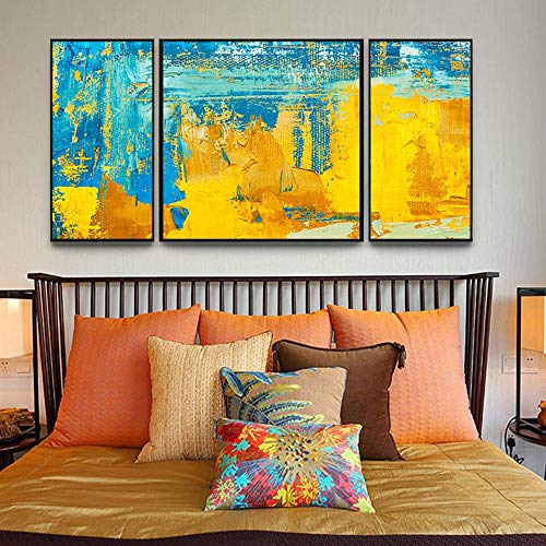 XinMeiMaoYi wandbild Moderne europäische bunte abstrakte Triptychon dekorative Malerei schwarzer Bilderrahmen Wandmalerei Wandbild 30 * 60CM60 * 60CM HD Micro-Spray einfaches Zuhause Wohnzimmer Sofa H