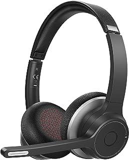 Soulsens - Auriculares inalámbricos con micrófono, micrófono con cancelación de ruido para la oficina en casa, cómodo ajuste de negocios, para PC, teléfono móvil, oficina, Skype, tiempo de conversación 22H