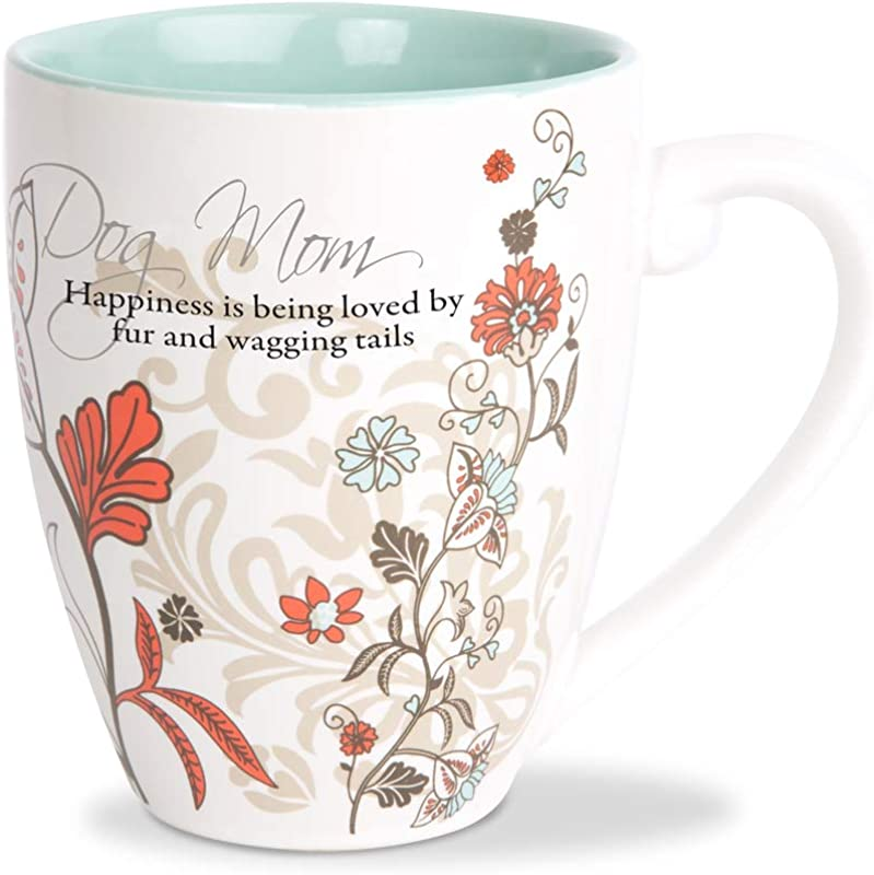 Pavilion Gift Company 66356 Dog Mom Floral Patterned Teal Interior Coffee Mug 20 Oz Cup