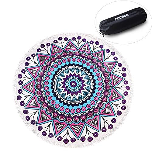 ZUOAO Toalla de Playa Redondo Microfibra Hippie Tapiz de Pared Indian Mandala, Manta Multi-funcional para Yoga/Gimnasio/Baño/Picnic/Decoración/Viaje