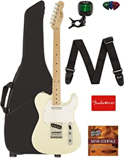 Fender Squier Affinity Series Telecaster Guitar - Maple Fingerboard, Arctic White Bundle with Gig Bag, Tuner, Strap, Picks, and Austin Bazaar Instructional DVD
