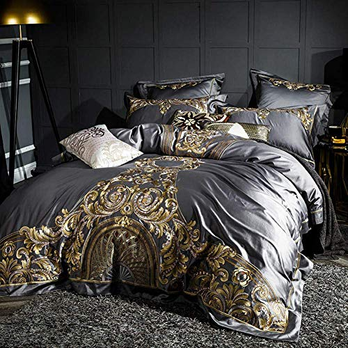 1000Tc Egyptian Cotton Duvet Cover Set Bed Sheet Pillow Shams Shabby Chic Embroidery Bedding Set (Grey,King Size 4Pieces)