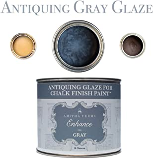 Amitha Verma Antiquing Glaze and Wax for Chalk Finish Paint | DIY Distressed Vintage Look for Furniture, Cabinets and More, 16 ounce, Gray