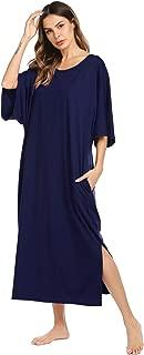 Nightgown, Womens Round Neck/V Neck Loungewear Oversized Pajama Loose Pockets Long Sleep Dress