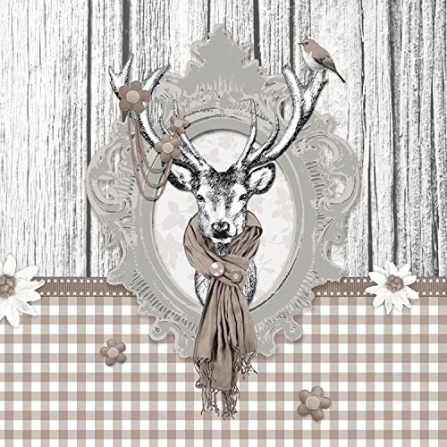 Ambiente Papierservietten - Servietten Lunch / Party / ca. 33x33cm Decorated Deer Taupe - Hirsch - Ideal Als Geschenk Und Tisch-Deko