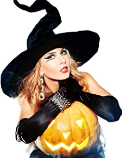 Lulutus Halloween Witch Party Cosplay Large Black Witch Hat for Women Costume Accessory