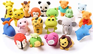 Lsushine 20 Animal Collectible Set of Random Adorable Animals Erasers Best for Kids Fun and Games