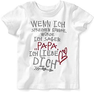Mikalino Baby/Kinder T-Shirt mit Spruch für Jungen Mädchen Unisex Kurzarm Wenn ich sprechen könnte würde ich Sagen: Papa ich Liebe Dich | handbedruckt in Deutschland
