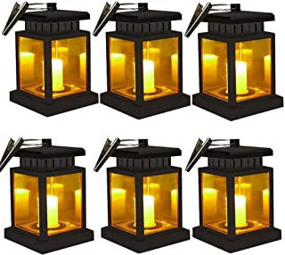 Solar Lantern - OKSSTONE Hanging Solar Lights Outdoor Decorative Solar Powered LED Lantern for Patio Landscape Yard Flameless Candles Flickering (Yellow Warm,6 Pack)