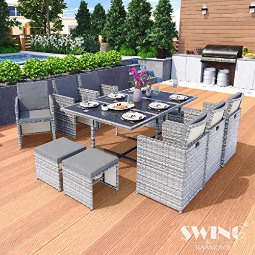 Swing & Harmonie Polyrattan Sitzgruppe Esstisch Lounge Sitzgarnitur Essgruppe Gartenmöbel Set...