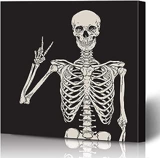 Ahawoso Canvas Prints Wall Art Printing 16x16 Skull Human Skeleton Posing Over Anatomy Scary Black Holidays Vintage Grave Hand Creepy Happy Flat Painting Artwork Home Living Room Office Bedroom Dorm