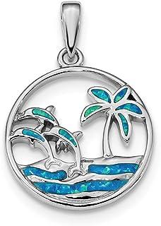 Ciondolo da donna in argento Sterling 925 rodiato con opale blu delfini