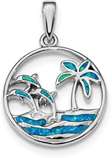 925 Sterling Silver Blue Created Opal Dolphins Pendant Charm Necklace Sea Life Dolphin Fine Jewelry Gifts For Women For Her