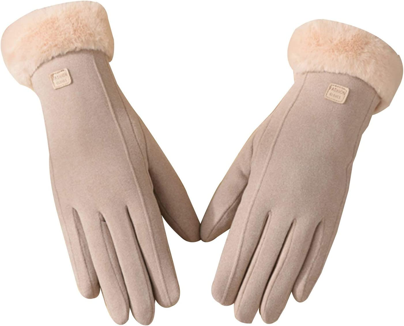 Gloves Gloves Soft Suede Warm Plush Lining Touch Screen Gloves Suitable for Women in Cold Weather (Color : Khaki)