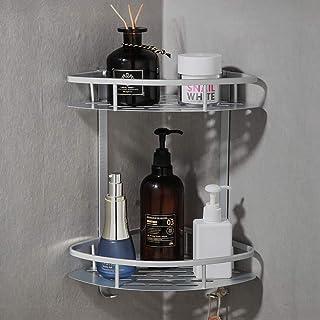 Laimew Estantes para esquinas de baño No Drill estante de ducha de aluminio adhesivo anticorrosivo con ganchos para colga...