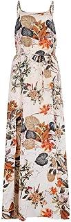 WUFAN Womens Sleeveless Printed Slit Boho Beach Mid Length Dress