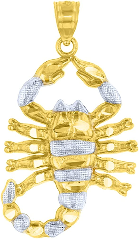 Solid 14k Yellow Gold Textured Scorpion Charm Scorpio Zodiac Pendant