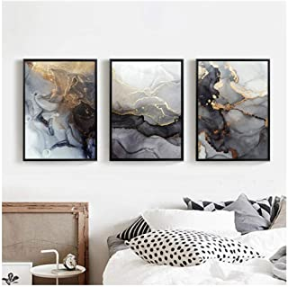 Kkglo 3Pcs Abstract Modern Home Living Room Bedroom Decoration Nordic Grey Golden Art Marble Texture Wall Art Canvas Poste...